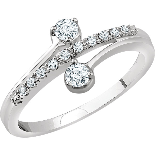 Genuine 14 KT White Gold 0.25 Carat TW Diamond Two-Stone Ring