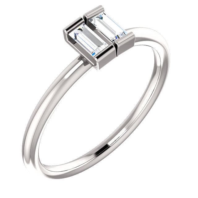 14 KT White Gold 0.25 Carat TW Diamond Two-Stone Ring