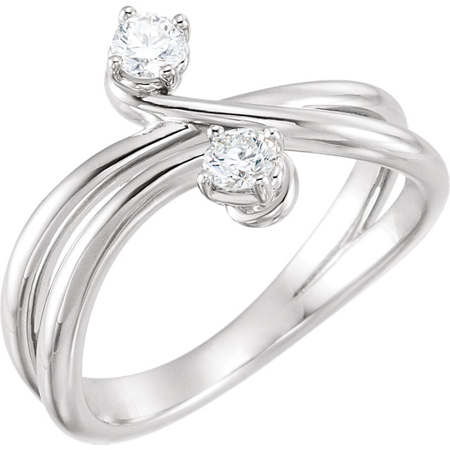 Great Deal in 14 Karat White Gold 0.25 Carat Total Weight Diamond Two-Stone Ring