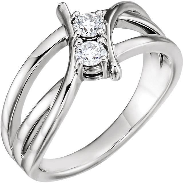 Contemporary 14 Karat White Gold 0.25 Carat Total Weight Diamond Two-Stone Ring