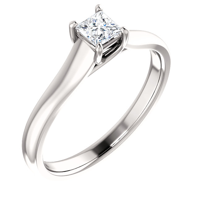 White Diamond Ring in 14 Karat White Gold 0.25 Carat Diamond Woven Solitaire Engagement Ring
