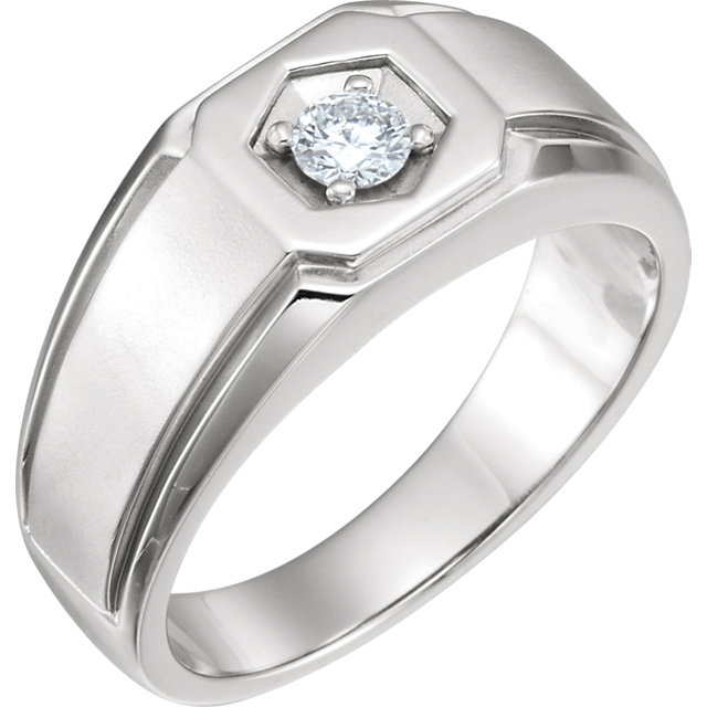 White Diamond Ring in 14 Karat White Gold 0.25 Carat Men's Diamond Ring