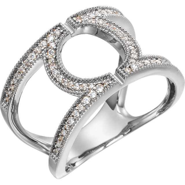Perfect Gift Idea in 14 Karat White Gold 0.25 Carat Total Weight Round Geometric Diamond Ring