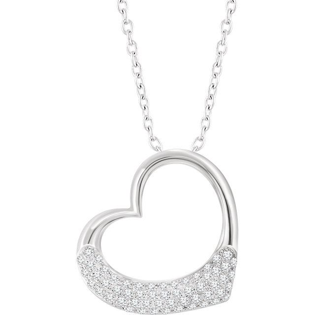 Gorgeous 14 Karat White Gold 0.20 Carat Total Weight Diamond Heart 16-18