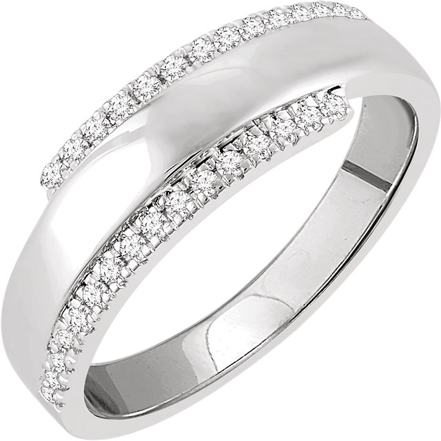 Low Price on Quality 14 KT White Gold 0.20 Carat TW Diamond Bypass Ring