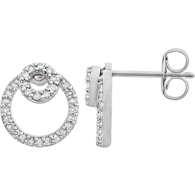 Perfect Gift Idea in 14 Karat White Gold 0.20 Carat Total Weight Diamond Circle Earrings