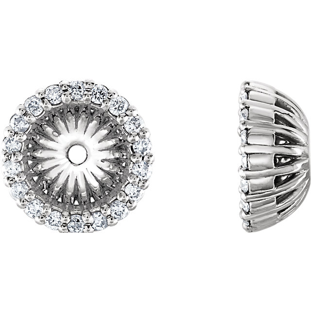 Buy Real 14 KT White Gold 0.20 Carat TW Diamond Cluster Earring Jackets