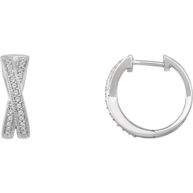 Very Nice 14 Karat White Gold 0.20 Carat Total Weight Diamond Criss-Cross Hoop Earrings