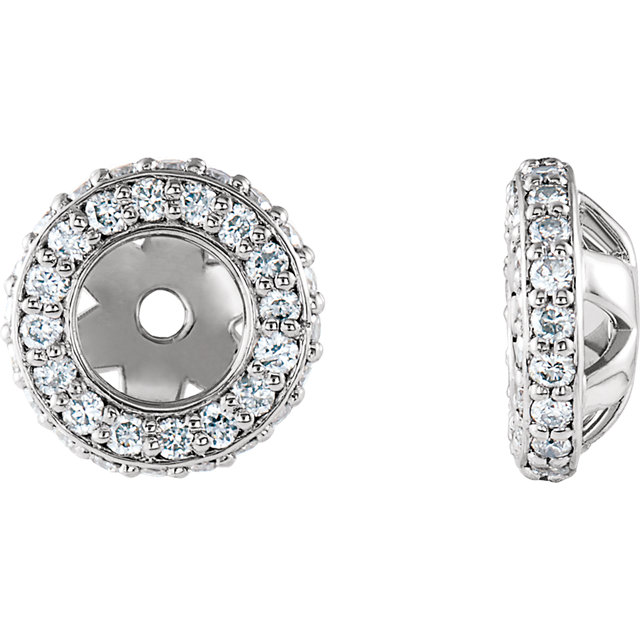 Must See 14 KT White Gold 0.20 Carat TW Diamond Earring Jackets