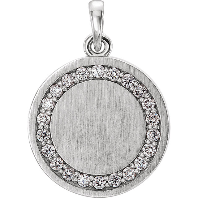 Must See 14 Karat White Gold 0.20 Carat Total Weight Diamond Engravable Pendant