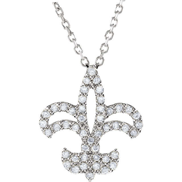 Shop 14 Karat White Gold 0.20 Carat Diamond Fleur De Lis 16