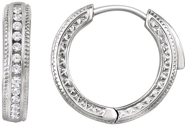 14 Karat White Gold 1/5 Carat Total Weight Diamond Hoop Earrings