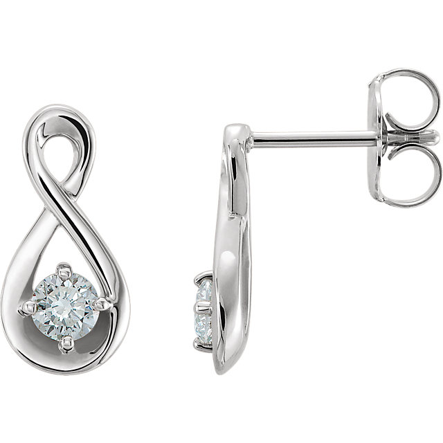 Great Deal in 14 Karat White Gold 0.20 Carat Total Weight Diamond Infinity-Inspired Earrings
