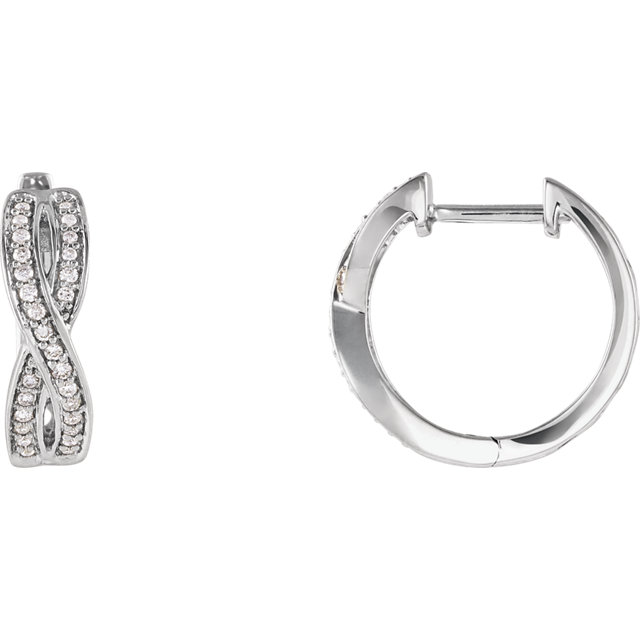 Contemporary 14 Karat White Gold 0.20 Carat Total Weight Diamond Infinity-Inspired Hoop Earrings
