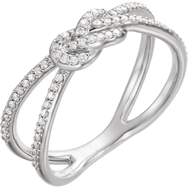 14 Karat White Gold 0.20 Carat Diamond Knot Ring