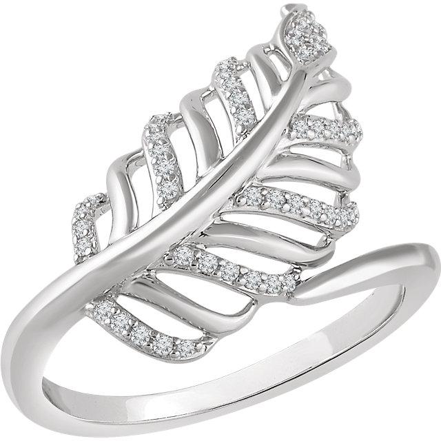 Genuine  14 KT White Gold 0.20 Carat TW Diamond Leaf Ring