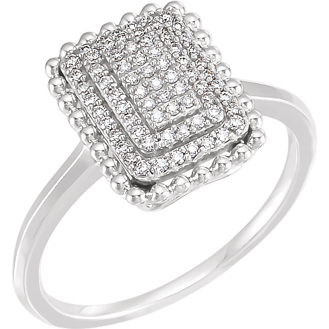 Shop 14 KT White Gold 0.20 Carat TW Diamond ReCaratangle Cluster Ring