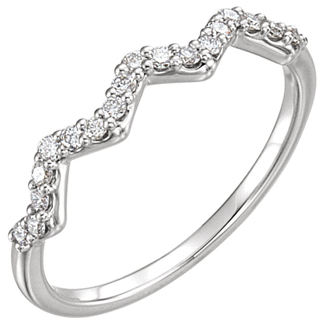 Genuine  14 KT White Gold 0.20 Carat TW Diamond Stackable Ring