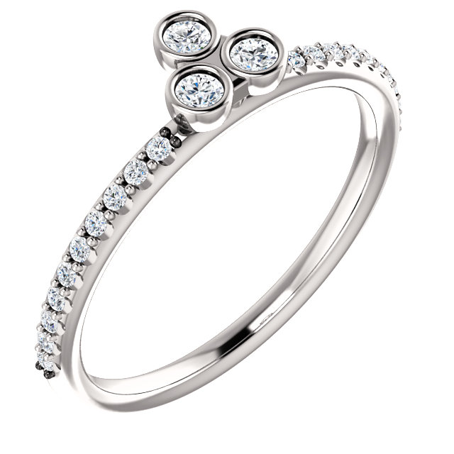 Perfect Gift Idea in 14 Karat White Gold 0.20 Carat Total Weight Diamond Three-Stone Asymmetrical Stackable Ring