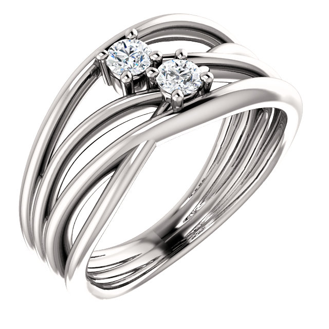 Easy Gift in 14 Karat White Gold 0.20 Carat Total Weight Diamond Two-Stone Bypass Ring