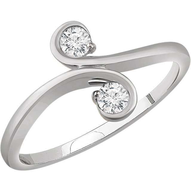 Appealing Jewelry in 14 Karat White Gold 0.20 Carat Total Weight Diamond Two-Stone Ring