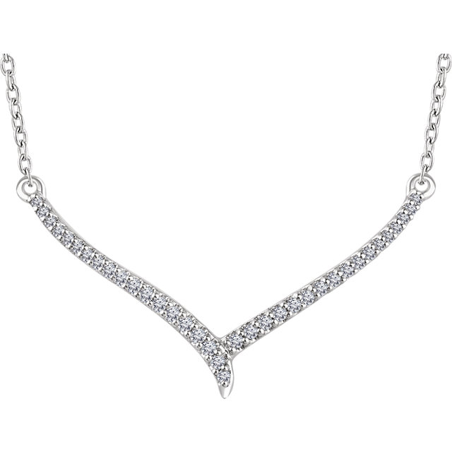 Contemporary 14 Karat White Gold 0.17 Carat Total Weight Diamond