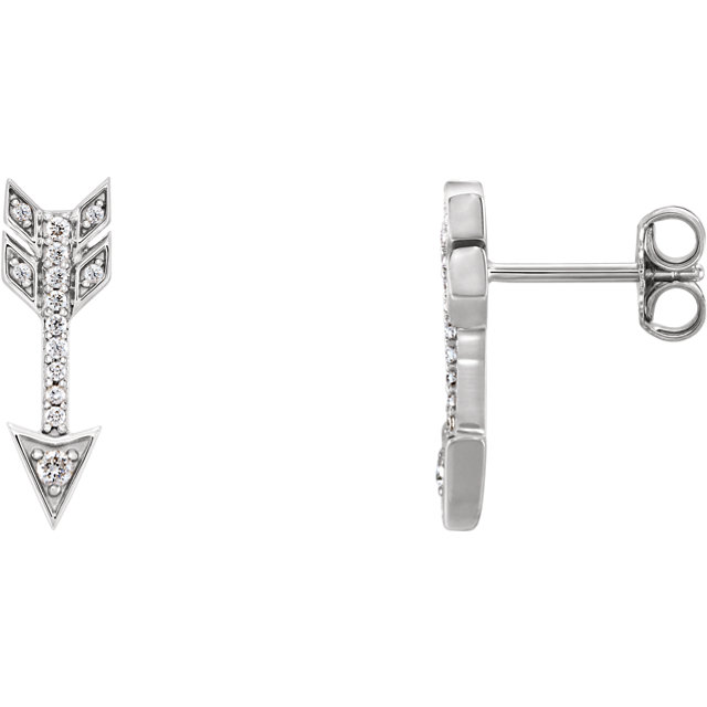 Surprise Her with  14 Karat White Gold 0.17 Carat Total Weight Diamond Arrow Earrings