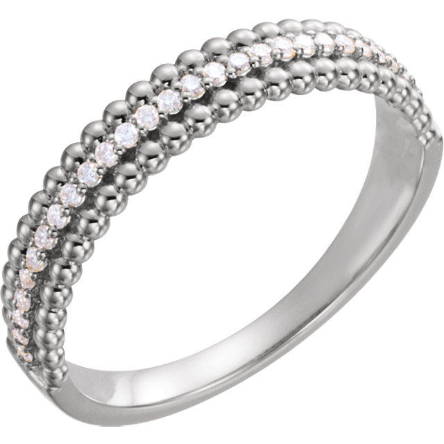 14 Karat White Gold 0.17 Carat Diamond Beaded Ring
