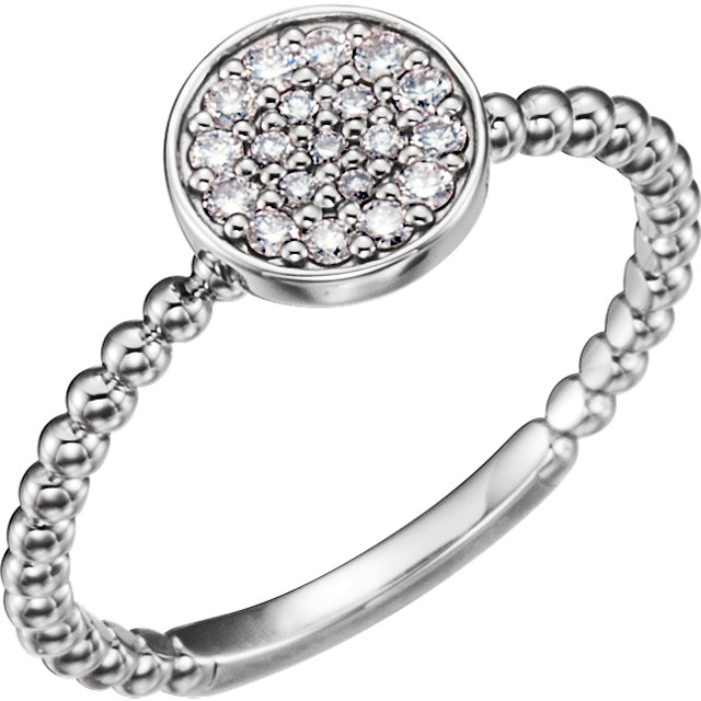 Buy Real 14 KT White Gold 0.17 Carat TW Diamond Cluster Beaded Ring