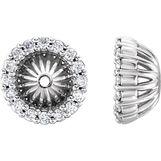 Great Buy in 14 Karat White Gold 0.17 Carat Total Weight Diamond Cluster Earring Jackets