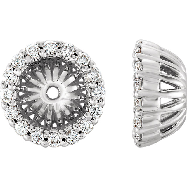 Jewelry Find 14 KT White Gold 0.17 Carat TW Diamond Cluster Earring Jackets