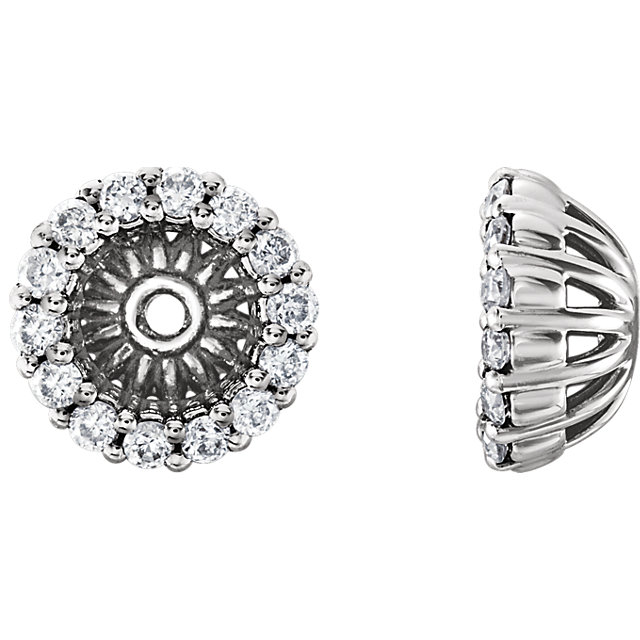 Buy Real 14 KT White Gold 0.17 Carat TW Diamond Cluster Earring Jackets