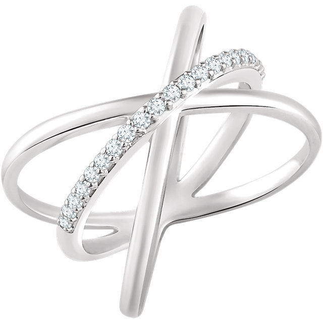 14 Karat White Gold 0.17 Carat Diamond Criss-Cross Ring