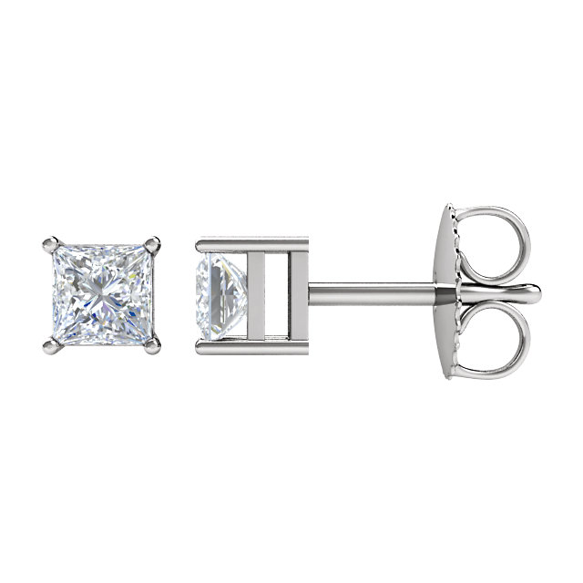 Wonderful 14 Karat White Gold 0.17 Carat Total Weight Diamond Earrings