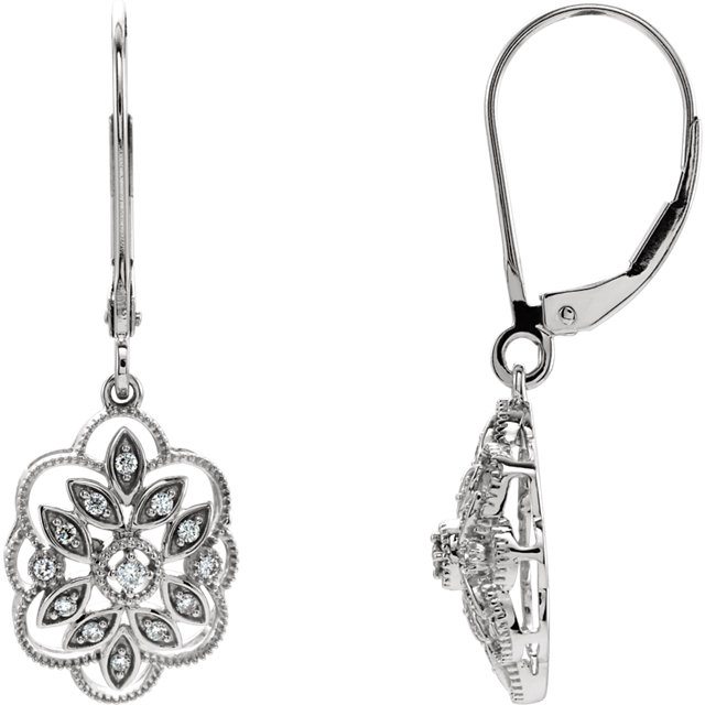 Perfect Gift Idea in 14 Karat White Gold 0.17 Carat Total Weight Diamond Granulated Filigree Earrings