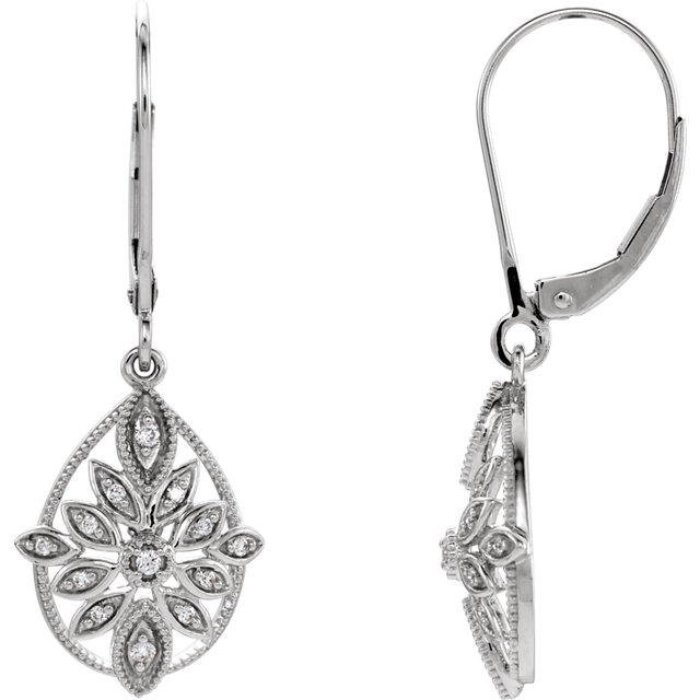 Great Deal in 14 Karat White Gold 0.17 Carat Total Weight Diamond Granulated Filigree Earrings