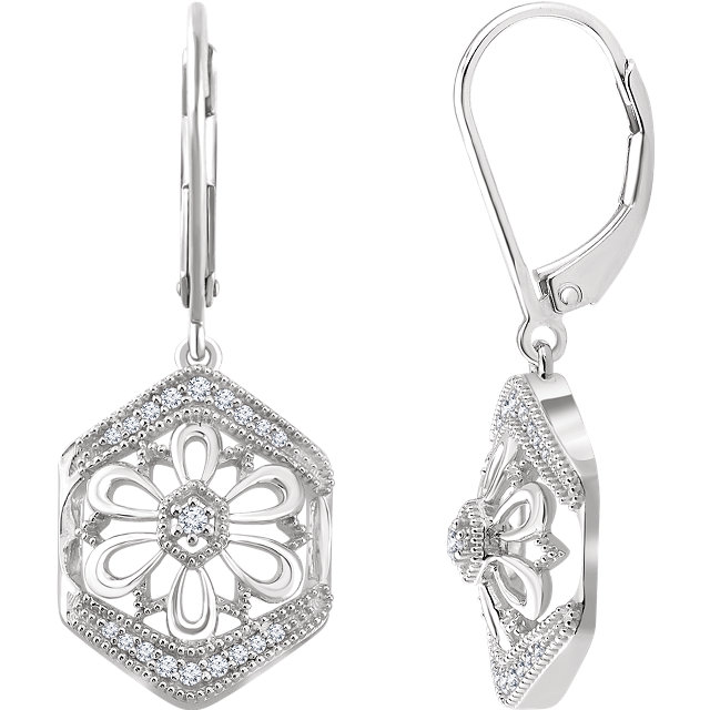 Fine Quality 14 Karat White Gold 0.17 Carat Total Weight Diamond Granulated Filigree Earrings