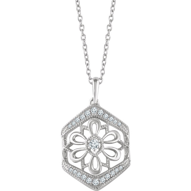Buy Real 14 KT White Gold 0.17 Carat TW Diamond Granulated Filigree Necklace