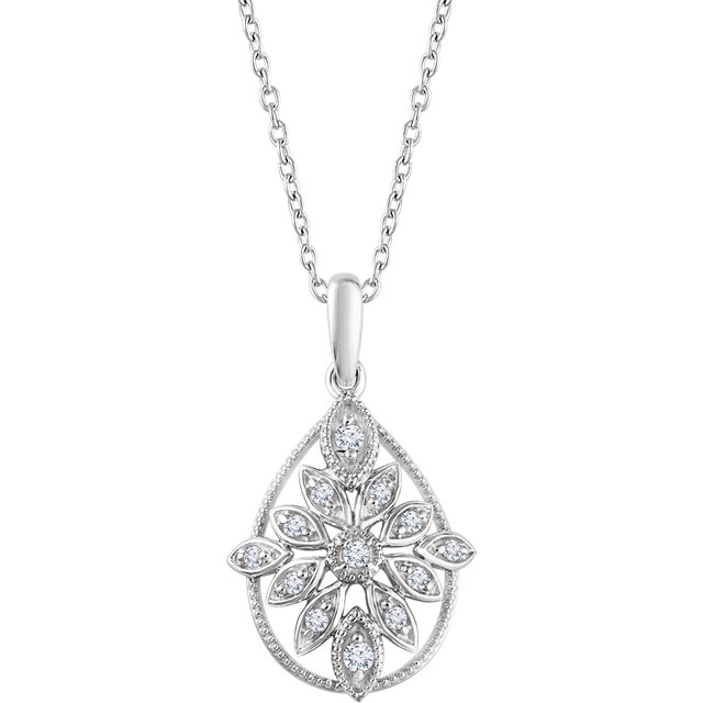 Chic 14 Karat White Gold 0.17 Carat Total Weight Diamond Granulated Filigree 18