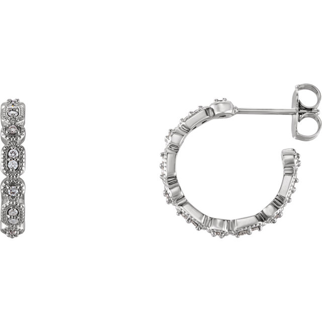 Wonderful 14 Karat White Gold 0.17 Carat Total Weight Diamond Granulated J-Hoop Earrings