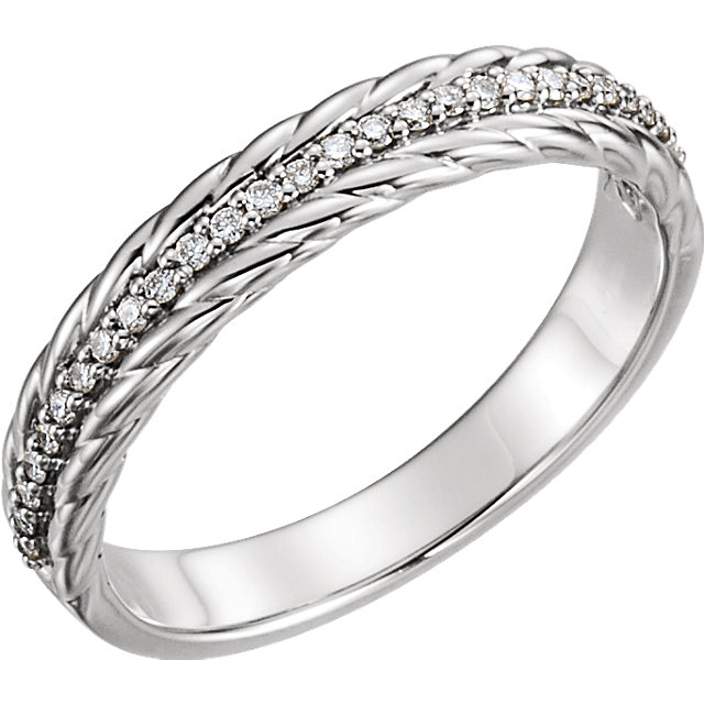 14 Karat White Gold 0.17 Carat Diamond Rope Ring