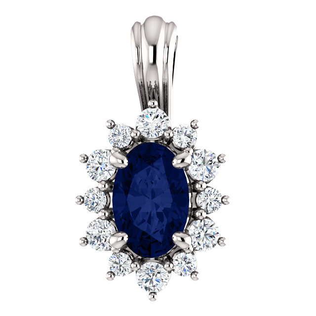 Appealing Jewelry in 14 Karat White Gold 0.17 Carat Total Weight Diamond & Sapphire Pendant
