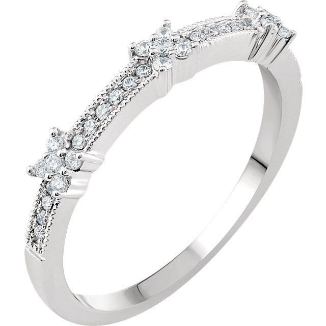 Low Price on Quality 14 KT White Gold 0.17 Carat TW Diamond Stackable Ring