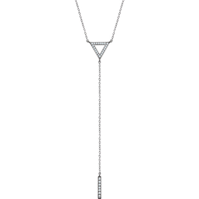 Contemporary 14 Karat White Gold 0.17 Carat Total Weight Diamond Triangle & Bar Y 16-18