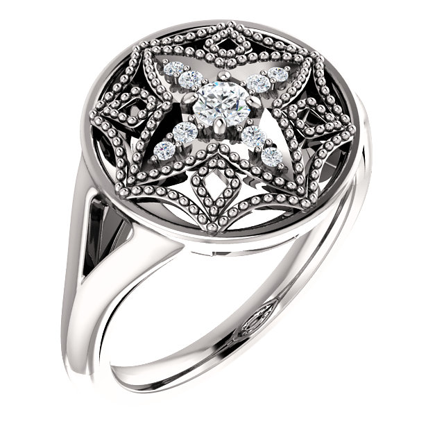 14 KT White Gold 0.17 Carat TW Diamond Vintage-Inspired Ring