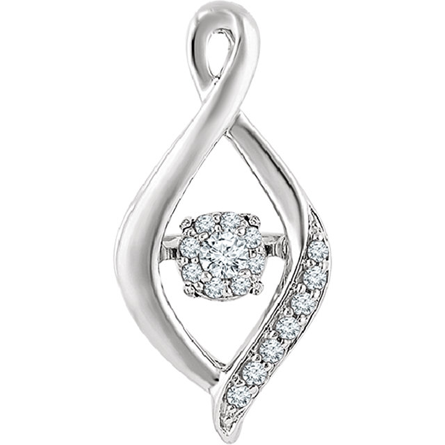Graceful 14 Karat White Gold 1/6 Carat Total Weight Mystara Round Genuine Diamonds Infinity-Inspired Pendant