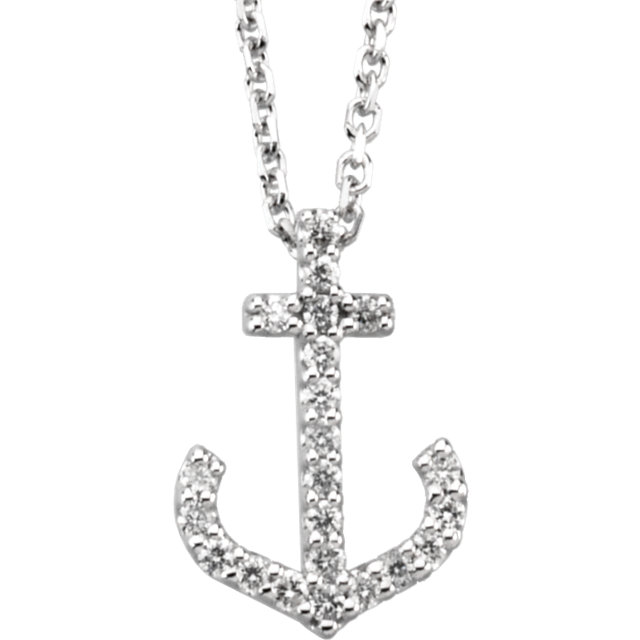 Buy 14 Karat White Gold 0.12 Carat Diamond Anchor 16
