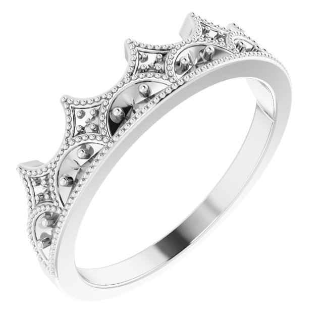 White Diamond Ring in 14 Karat White Gold 0.12 Carat Diamond Crown Ring