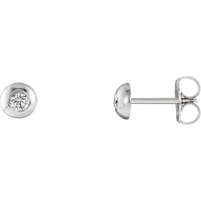 Must See 14 Karat White Gold 0.12 Carat Total Weight Diamond Domed Stud Earrings