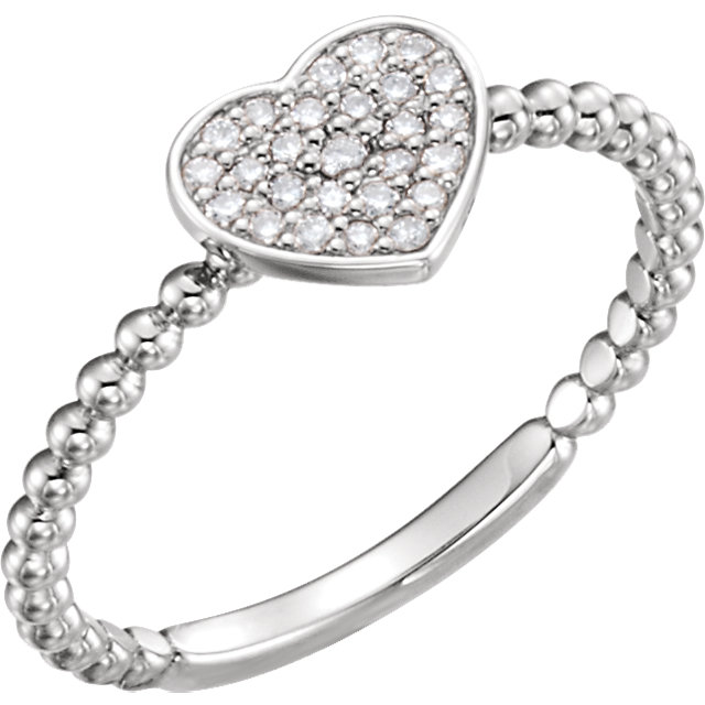 14 Karat White Gold 0.12 Carat Diamond Heart Bead Ring